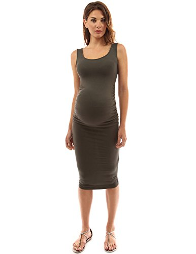 PattyBoutik Mama Scoop Neck Maternity Tank Dress (Dark Olive Green L)