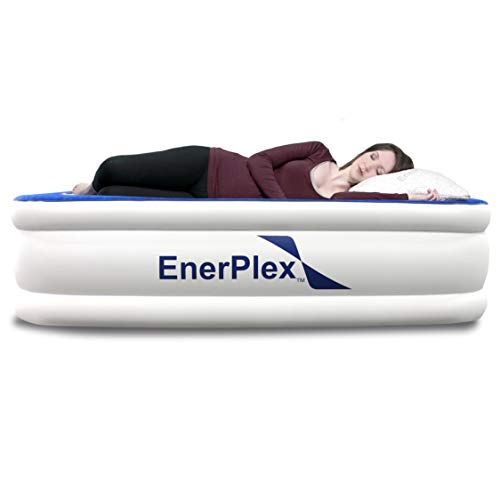 EnerPlex Premium 2019 Dual Pump Luxury Queen Size Air Mattress Airbed with Built in Pump Raised Double High Queen Blow Up Bed for Home Camping Travel 2-Year Warranty