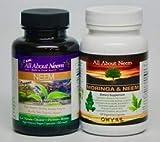 Neem Leaf 1,500 mg and Neem/Moringa Oleifera Leaf Powder Organic Capsules - 2 Bottle Set- Wellness Combo, Vegan, Kosher-Made in USA Free Gift with Purchase