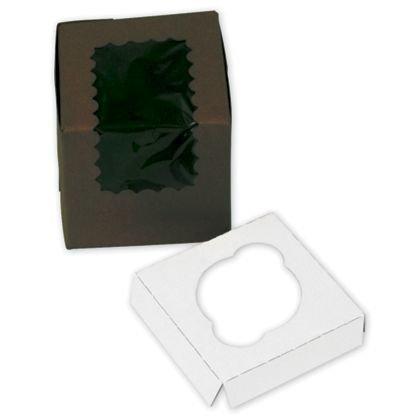 Chocolate Windowed Standard Cupcake Boxes, 1 Cup (200 Boxes) - BOWS-444W-513 (Cupcake Windowed Box)