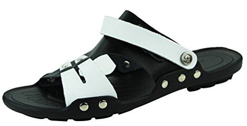 CFP 886 Mens Clogs Sandals Fashion Casual Athletic Comfy Beach Breathable With Soft Leather White UK Size 5.5