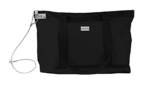 Vaultz Locking Zipper Tote Bag, Water Resistant Nylon, 5.x 19.90 x 13.4 Inches, Black (VZ00678)