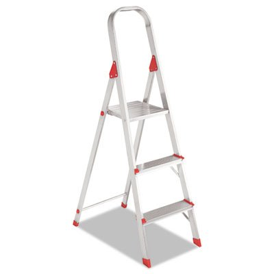 #566 Three Foot Folding Aluminum Euro Platform Ladder, Red (Foot Three 566)