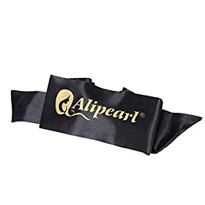 Ali Pearl Edge Wrap for Black Hair-Satin Edge Laying Scarf for Lace Frontal Wigs-Wigrip- Soft Women's Satin Headband for Makeup, Facial,Sport,Yoga (Black 1 piece)