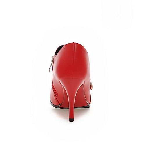 VogueZone009 Damen Knöchel Hohe Spitz Zehe Hoher Absatz Stiefel mit Wasser Diamanten Rot