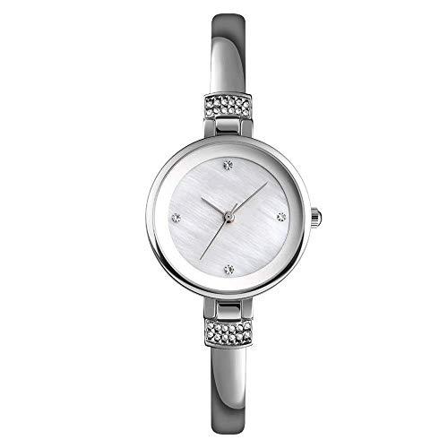 BEWITCHYU Practical Wristwatches Woman Simple Diamond Rhinestone Ultra-Thin Quartz Watch Steel Belt Fashion Waterproof Gift Box Fine Strap Decorative Watch BraceletSilver