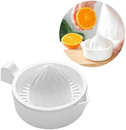 AMOYER Mini plástico de Doble Capa de Hogares Manual exprimidor de cítricos de Naranja limón Fruta Exprimidor Copa con Mango Pitorro portátil