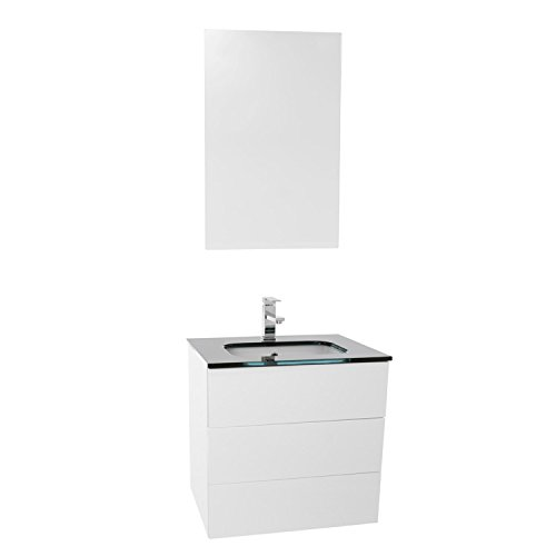 "chic Iotti Iotti TN541 Time Bathroom Vanity with Black Glass Top Wall Mounted and Mirror Included, 24"", Glossy White"