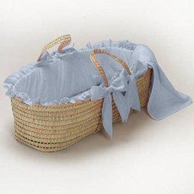 Babydoll Gingham Moses Basket, Light Blue