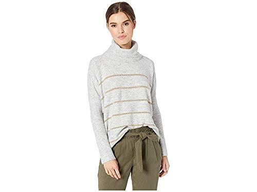 Lurex Stripe Sweater - cupcakes and cashmere Women's Harlo Metallic Striped Turtleneck Dolman, Heather ash, Medium