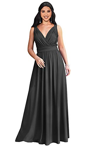 Gown Jersey Sleeve (KOH KOH Plus Size Womens Long Sleeveless Flowy Bridesmaids Cocktail Party Evening Formal Sexy Summer Wedding Guest Ball Prom Gown Gowns Maxi Dress Dresses, Dark Gray Grey XL 14-16)