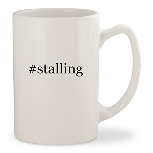 #stalling - White Hashtag 14oz Ceramic Statesman Coffee Mug Cup (Stalls Bar Breakfast)