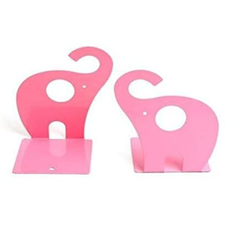 Eforstore 1 Pair Metal Decorative Art Elephant Bookends Shelf Books Textbooks Decorative Bookend for Kids Children Teen Girls Boys Teens Toddlers Baby Nursery Room (Pink)