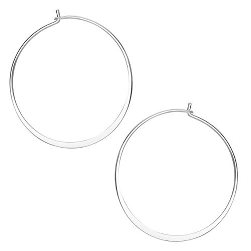(Ellen Tracy Fine Jewelry for Women, Sterling Silver Wire Hoop Earrings )