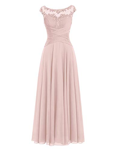 - Mother of The Bride Dress Beaded Chiffon Formal Wedding Party Gown Prom Dresses Dusty Rose US 20W