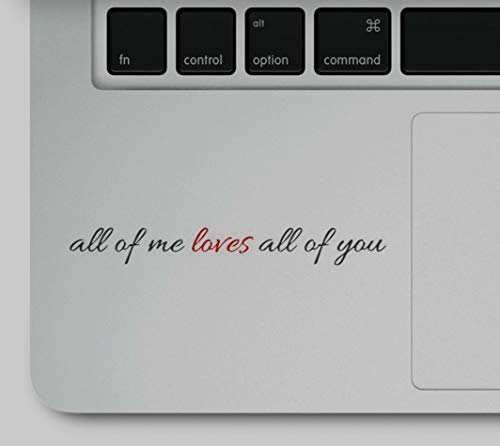 Wicked Decals All of me Loves All of You Motivational Love Inspirational Quote Laptop Printed Sticker Decal Compatible with MacBook Retina, MacBook Pro, MacBook Air (The Best Apple Laptop For Me)