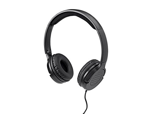 Monoprice Hi-Fi Lightweight On-Ear Headphones - Black with Microphone and in-line volume control for Apple Iphone iPod Android Smartphone Samsung Galaxy Tablets MP3 -
