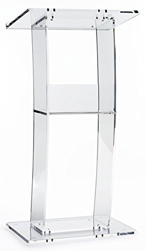 Clear Lectern with Curved Pedestal, 1/2-Inch Thick Acrylic Frame, Built-in Shelf, 1-Inch Lip On Writing Surface, Easy To Assemble, Hardware Included - 45-34