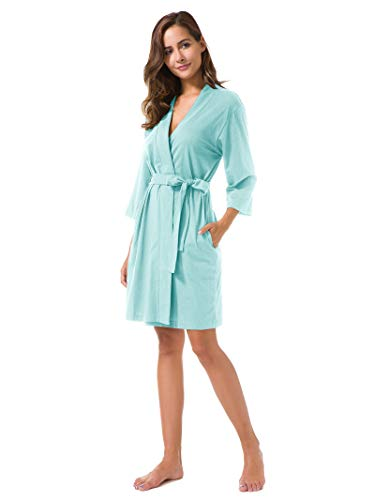 SIORO Kimono Robe Plus Size Soft Lightweight Robes Cotton Nightshirts V-Neck Sexy Nightwear Dress Knit Bathrobe Loungewear Short Women Dusk XL by SIORO