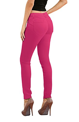Women's Butt Lift Stretch Denim Jeans-P37384SKX-FUCHSIA-16