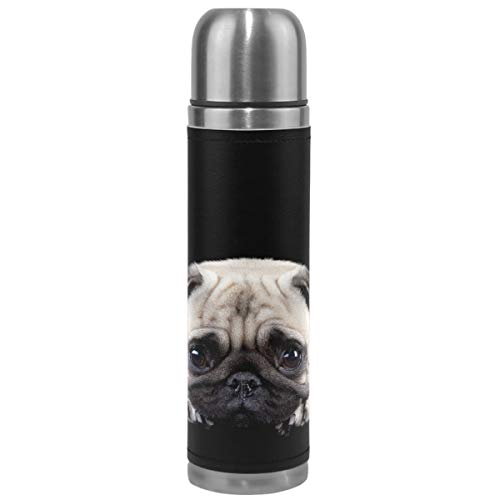 Wamika Cute Dog Pattern Vacuum Insulated Stainless Steel Water Bottle, Pug Baby Dog Funny Pets Animals Sports Coffee Travel Mug Thermos Cup Genuine Leather Cover 17oz