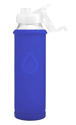 Eveau Glass Water Bottle with Flip Lid, Sky Bumperguard Silicone Sleeve, Wide Mouth Opening, 21 Ounce/630 ml