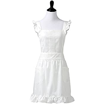 Plum Hill Womens Retro White Victorian Apron with Bib and Pockets, Pinafore for Cooking or Costume Medium