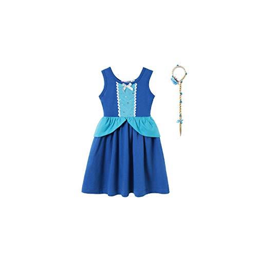 (Girl Costume Cinderella Dress for Vintage Swing Cotton Sundress Girl Retro Princess Fancy,Dress L Set)