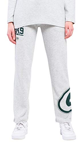 ICER Brands NFL Green Bay Packers Women's Jogger Pants Punt Brushed Hacci Sweatpants, Small, Gray