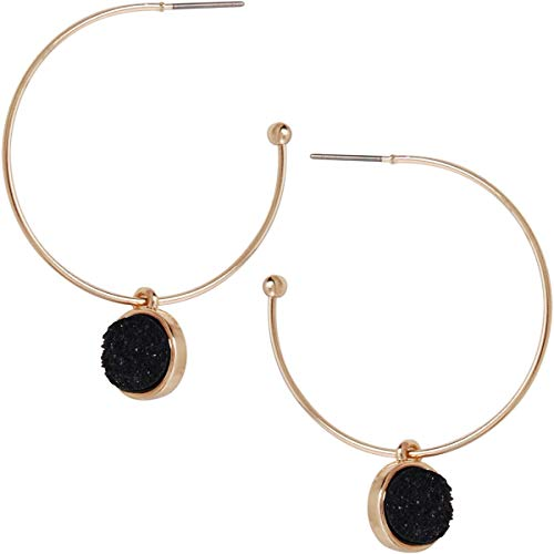 Humble Chic Simulated Druzy Hoop Earrings - Gold-Tone Round Created Geode Stone Charm Dangle Drop Threader Loops for Women