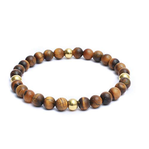 (Natural Semi Precious Gemstones Casual Plain 8mm Beaded Link Stretch Mens Bracelet - Matte Brown)