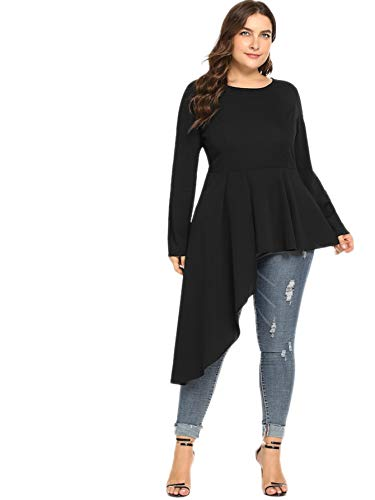 ROMWE Women's Plus Size Long Sleeve Asymmetrical Ruffle Hem Peplum Blouse Black 3XL