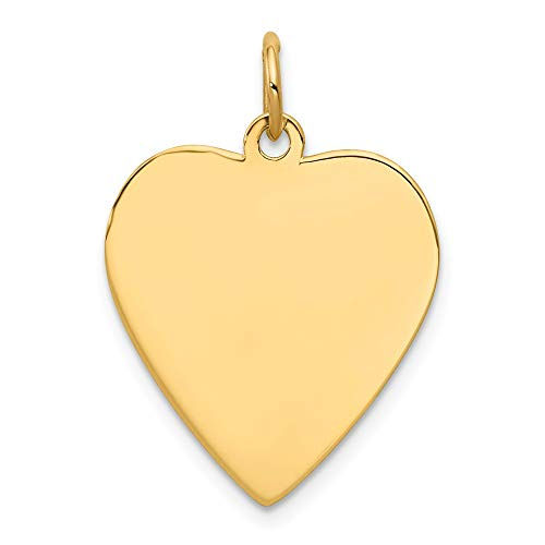 (14k Yellow Gold .035 Gauge Engravable Heart Disc Pendant Charm Necklace Simple Shaped Plain Fine Jewelry Gifts For Women For Her )