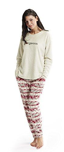 Ivory Lounge Set - Ink+Ivy Womens Ladies Glitter Fleece Sweater With Micro Fleece Jogger Pants Pajama Lounge Set Ivory/Red Medium