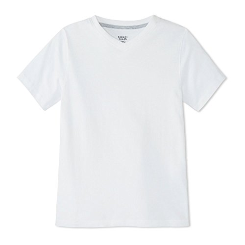 French Toast Boys' Toddler Short Sleeve V-Neck Tee, White, 3T