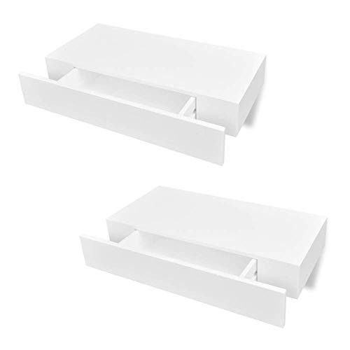 Festnight Pack of 2 MDF Floating Wall Display Shelf with Storage Drawer Wall Mounted Book DVD Storage Shelf for Living Room Home Office Decor 19