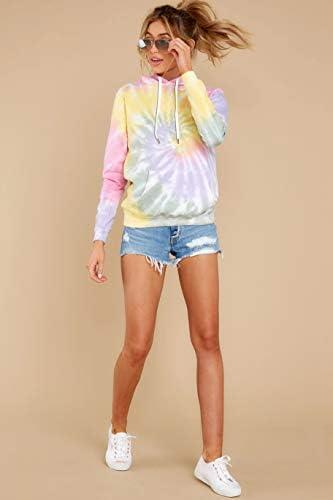 LANYU Women's Tie Dye Hoodies Sweatshirt Autumn Winter Long Sleeve Pullover Tops Fashion Streetwear