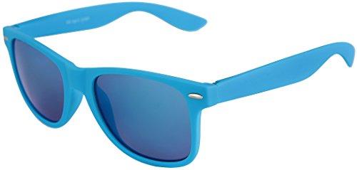 au qualité Rétro couleurs Vintage verspiegelt Lunettes Nerd De Gomme Lunettes haute à Soleil Unisexe Balinco ressort choix Modèles Charnière plusieurs Hellblau Blau mat 101 H8C5wqTT