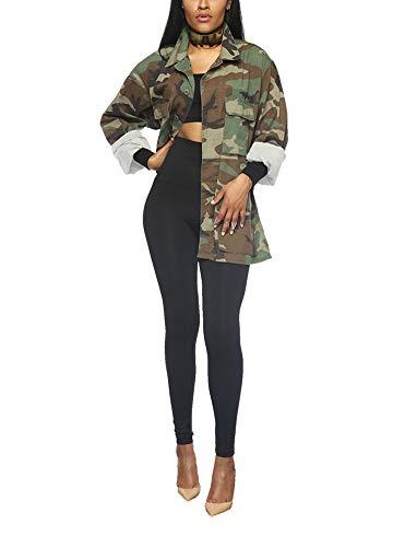 Aoheuo Womens Casual Camo, Outwear Camouflage Jacket