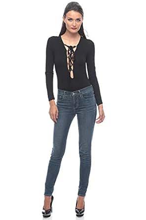 Black Cotton V Neck Bodysuit For Women