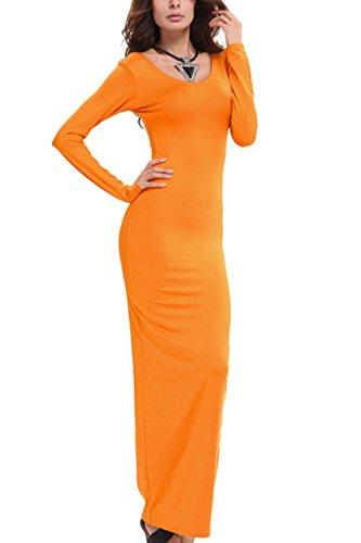 Damen Lange Ärmel Bodycon Lange Maxi Stift Partei Kleid Orange 8rdzC ...