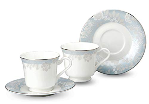 Hankook-Chinaware Bone China Porcelain Tea Cup and Saucer Coffee Cup Set Mint (2 Teacups and 2 Saucer) - Cup & Saucer Set Mint