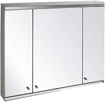 Clickbasin Large 3 Door Wall Mounted Mirror Bathroom Cabinet 800mm