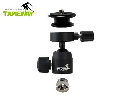 "TAKEWAY T-B03 Ball Head, 1/4""or 3/8"" Screew Hole, Max load 6lbs/3kg, Quick Release Plate, 360°Degrees, Metal Build Quality, Digital Camera/GoPro/Monopod/Slider/Compact DSLR/Cell Phone, Most Electronic"