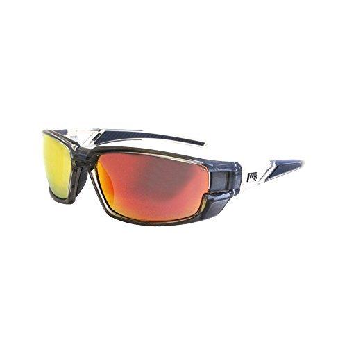 Pugs Premium Sport Sunglasses (Metallic Grey, Red Mirror) (Metallic Sport Sunglasses)
