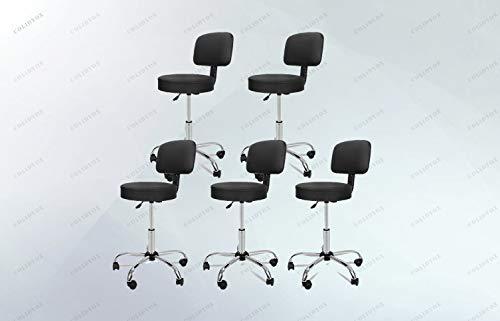 (COLIBROX>Set of 5 Salon Stool with Back Rest Saddle Rolling Hydraulic Spa Stools, Made of PU Leather with Sponge Padded Cushion, 360 degrees swivel, 5 rolling heavy duty casters.)