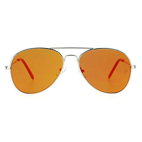SA106 Runway Trend Ultra Flat Lens mirrored Mirror Lens Wire Rim Aviator Sunglasses - Trend Wire Glasses Rim