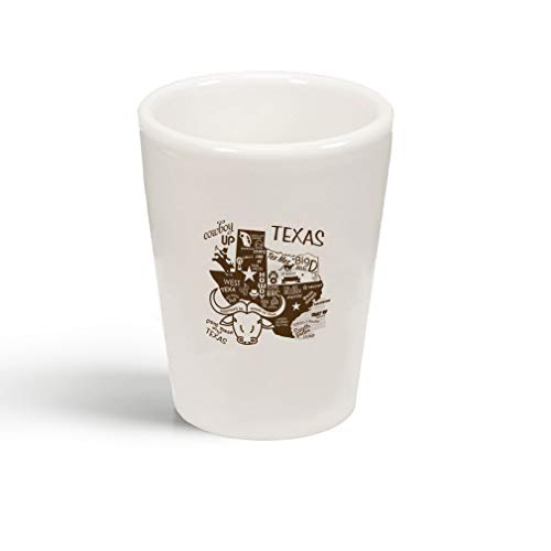 (Brown Cowboy Texas Boots Ceramic Shot Glass)