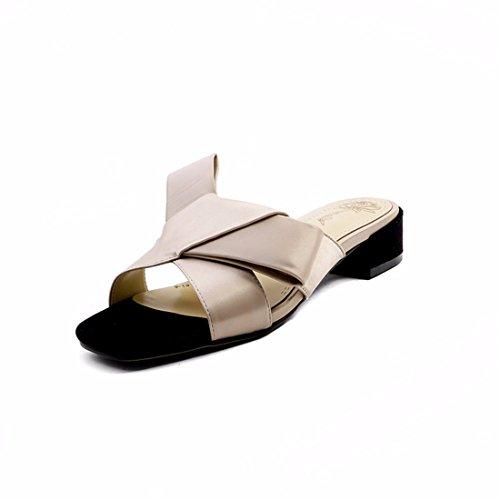 de Tacón Sandalias Tacón Grueso Personalidad Moda Tacón de Zapatillas de Zapatillas Cabeza de Abierta con Cuadrada apricot Punta Zapatillas de bajo de Zapatillas Grueso r45q1rw