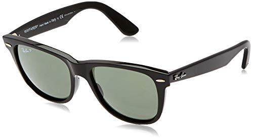Ray-Ban RB2140 Wayfarer Sunglasses, Black/Polarized Green, 54 mm